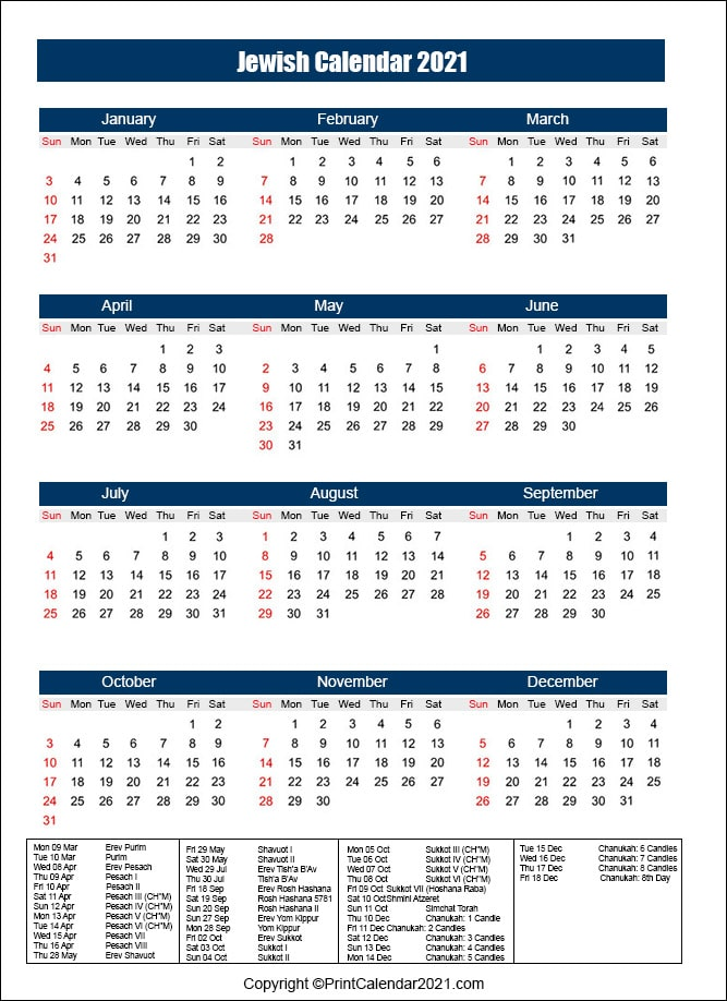 Jewish Holiday Calendar 2021