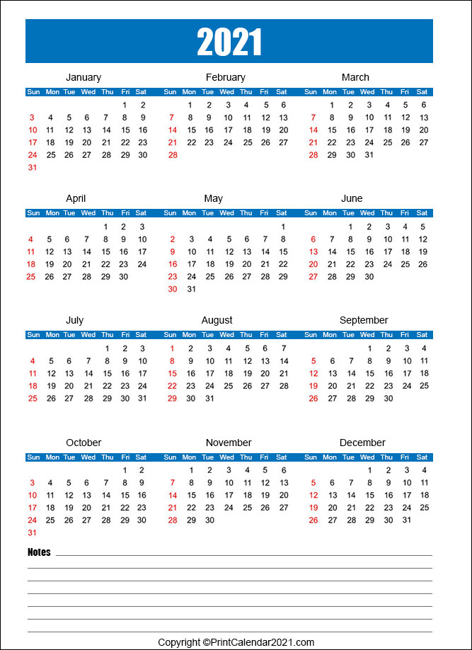 Printable Calendar 2021 For Students