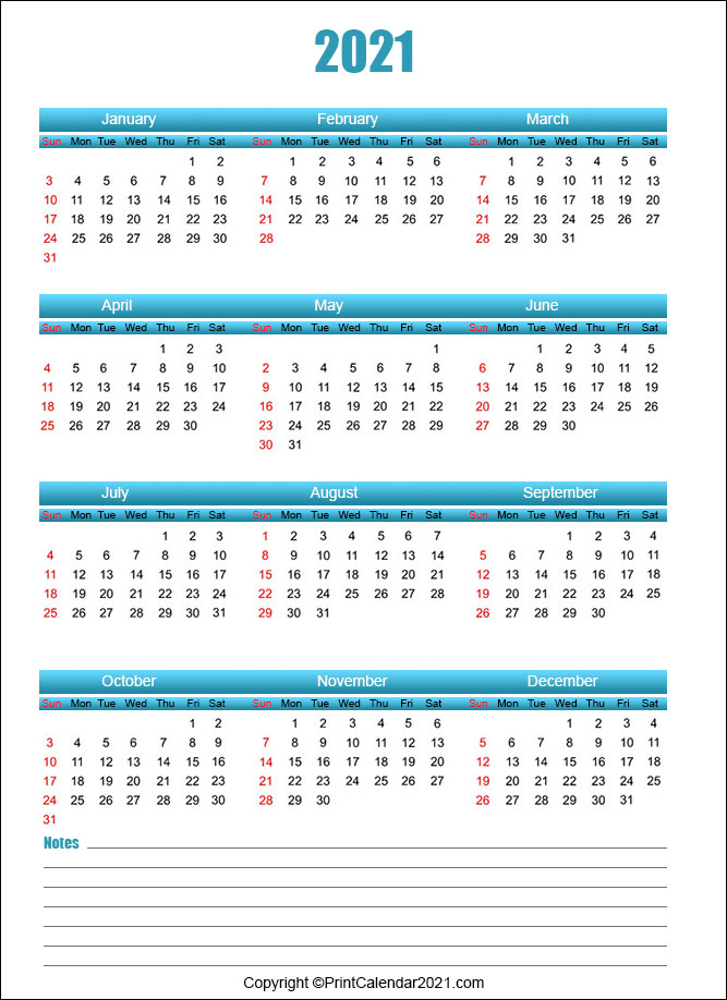 Printable Calendar 2021 with Note