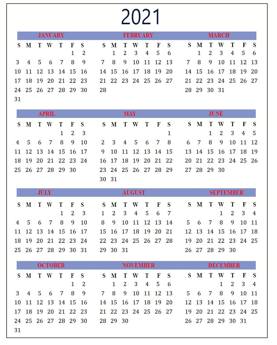 Yearly Holiday Calendar 2021