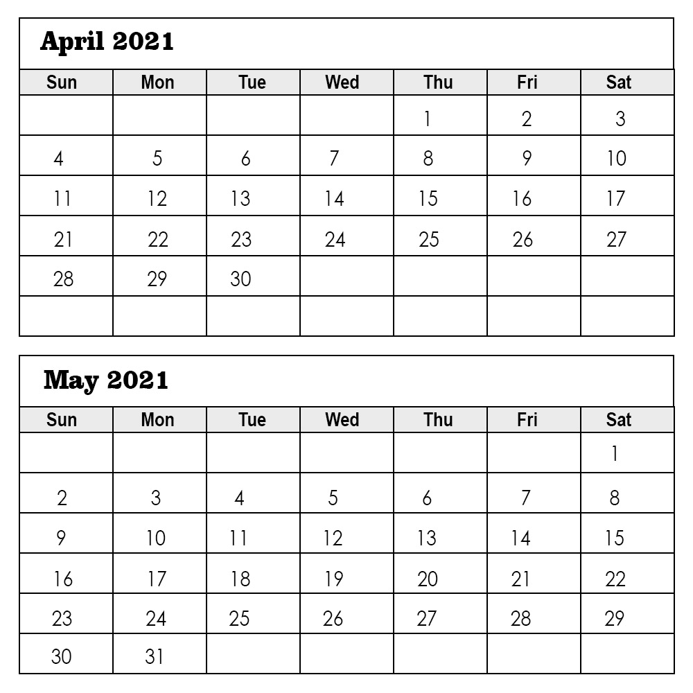 April May 2021 calendar Printable
