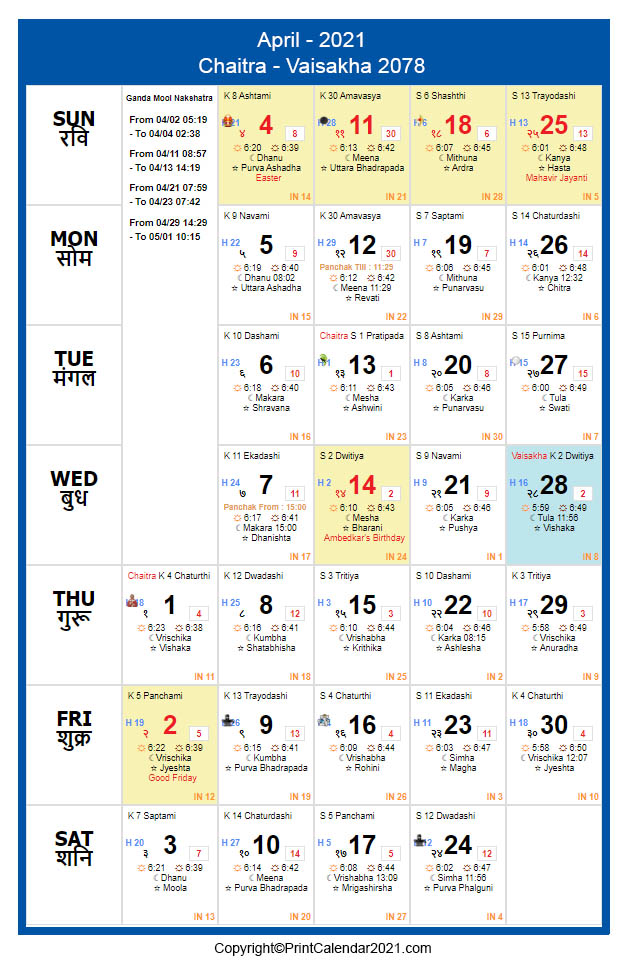 Hindu April 2021 Calendar Chaitra Vaisakha 2078