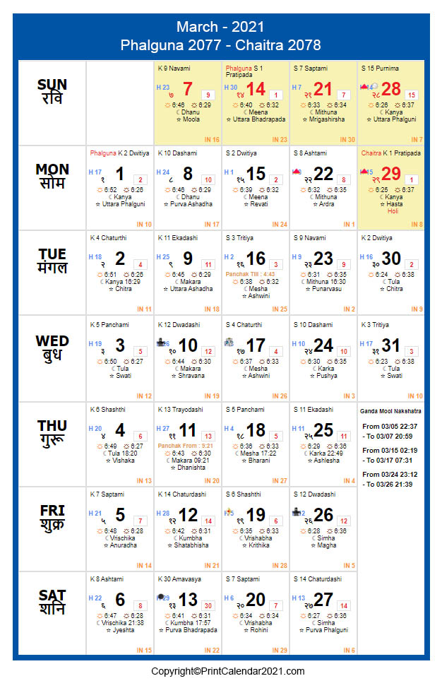 Hindu March 2021 Calendar Phalguna 2077 Chaitra 2078