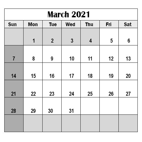 2021 School Holidays in March