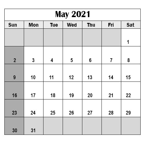 2021 School Holidays in May