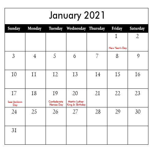 2021 January Public Holiday