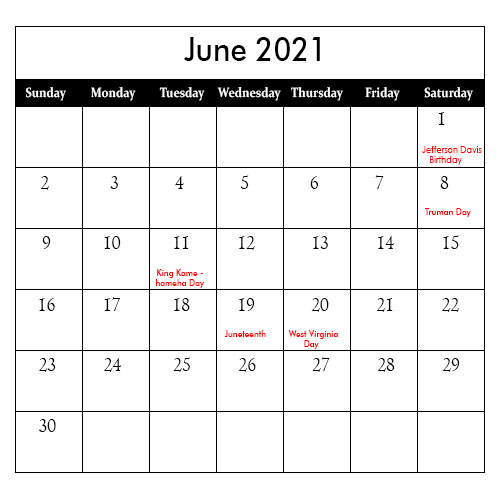 2021 June Public Holiday