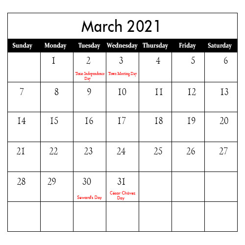 2021 March Public Holiday